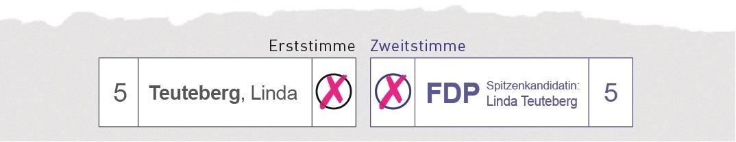 Briefwahl im Wahlkreis 61: Erststimme Linda Teuteberg, Zweitstimme FDP